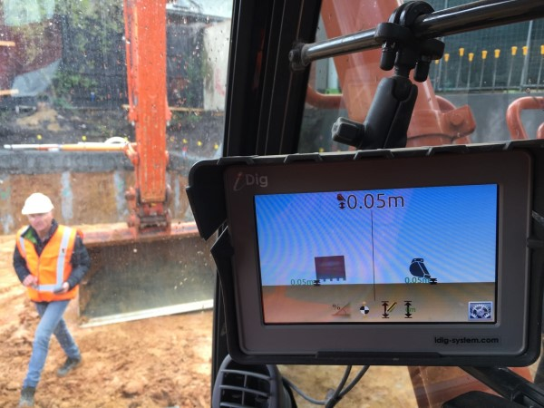 iDig Touch 2D grade control in cab